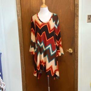 Boutique dress earthy tones chevron pattern
